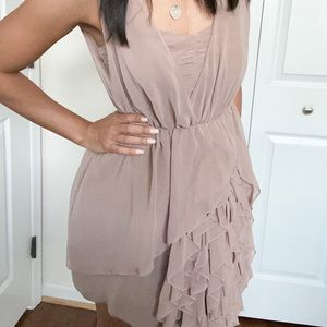 Ruffle Light Brown Dress.